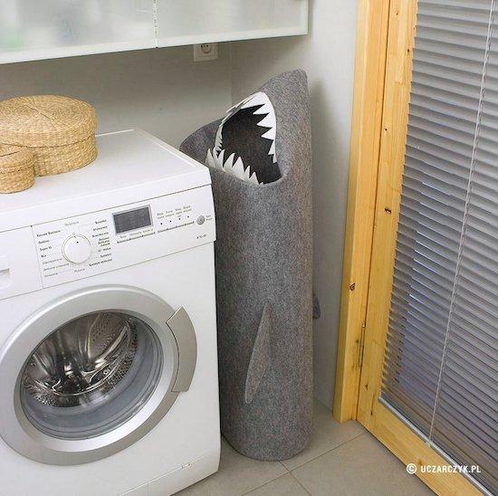臭衫自動送上.手製「鯊魚洗衣籃」